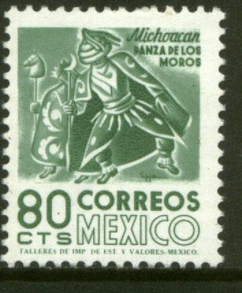 MEXICO 1072 80c 1950 Def 8th Issue Fosforescent coated MINT NH. F-VF.