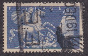 Great Britain # 288, St. George Slaying the Dragon, Perfin, Used, 1/3 Cat