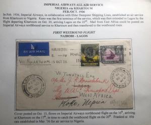 1936 Nairobi Kenya KUT First WestBound Flight Airmail Cover FFC To Koko Nigeria