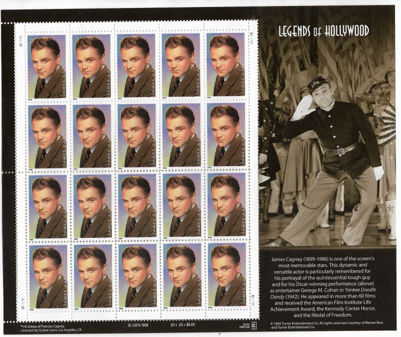 USA 3329 MNH SHEETS JAMES CAGNEY