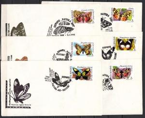 Romania, 1992 issue. 01-07/OCT/92. Butterfly Cancels on 6 Cachet Envelopes. #2