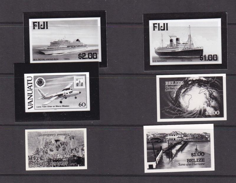 Various promotion black and white prints of Commonwealth stamps