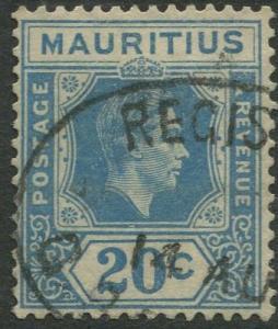 Mauritius - Scott 217 - KGVI Definitive Issue -1938 - FU -Single 20c Stamp