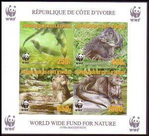 Ivory Coast WWF Speckle-throated Otter Souvenir Sheet imperforated reprint