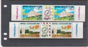 Central African Republic Scott # 384-385 Gutter Pair MNH 1979 PHILEXAFRIQUE II
