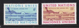 UN - NY # 194-195, UN Building in Chile, Mint NH, 1/2 Cat.