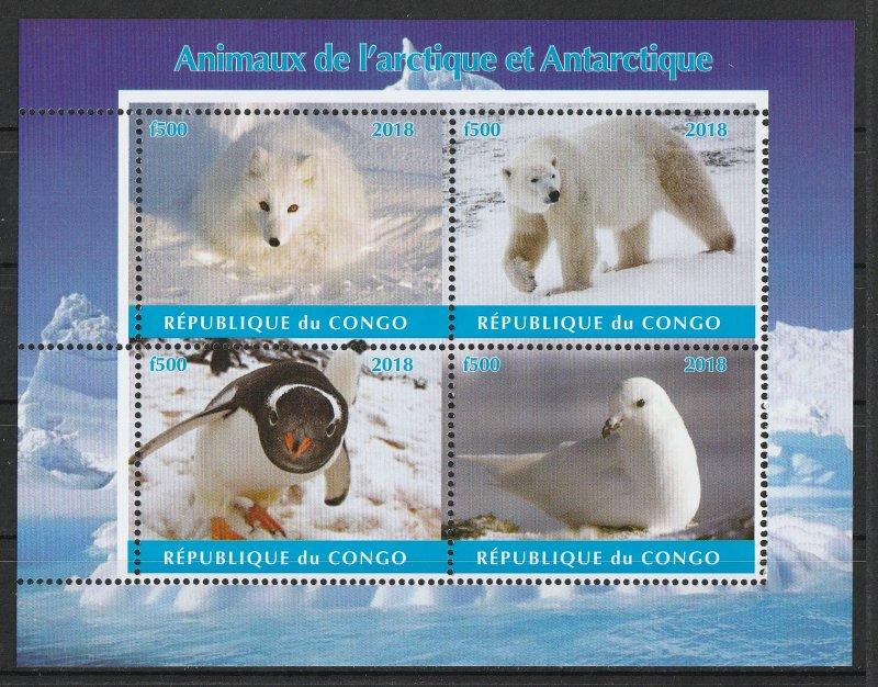 Congo MNH S/S Antarctic Animals 2018
