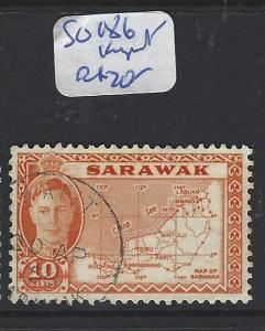SARAWAK (P1909BB) KGVI 10C MAP SG 186  KAPIT  VFU