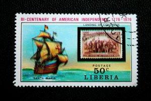 Liberia Error - EFO Stamp Sc# 708 Used Major Color Shift Blurry Stamp 1976