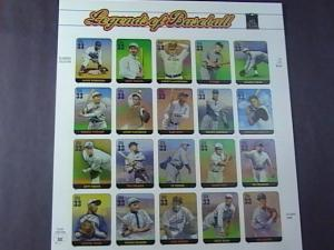 U.S.# 3408-MINT/NEVER HINGED-- PANE OF 20--LEGENDS OF BASEBALL--2000
