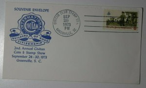Civitan Club Stamp Club Sta Greenville SC 1973 Souvenir Envelope Philatelic Expo