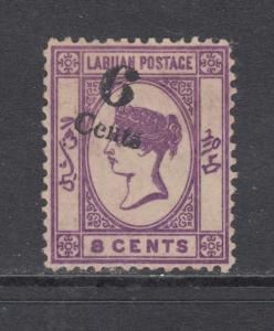 Labuan Sc 29a MNG. 1891 6c surcharge on 8c Queen Victoria, Shifted Surcharge