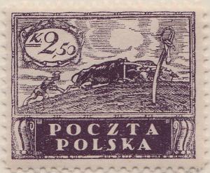 POLOGNE / POLAND - 1919 Mi.87x p.11-1/2 2.50Kr violet (ordinary paper) - Mint*