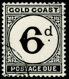GOLD COAST SGD7, 1952 6d Black Postage Due, VERY FINE USED Cat £18.