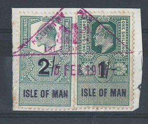 Isle of Man 1904 KE7 1s 2s Revenue stamps fu on piece in 1919 neat triangular Re