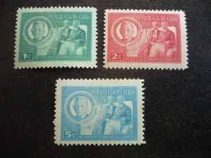 Stamps - Cuba - Scott# 407-409 - Mint Hinged Set  of 3 Stamps