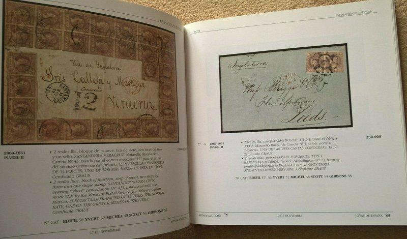 Auction Catalogue JOYAS DE LA FILATELIA ESPAÑOLA Classic Spain Stamps Covers