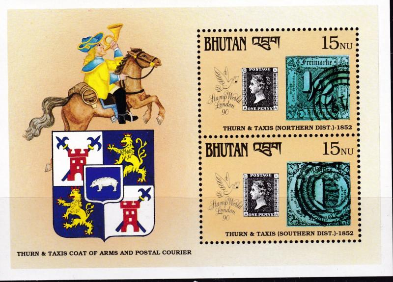 Bhutan 1990 The Regular Issue Mini-Sheet of 2 from the London Expo series VF/NH