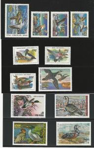 Russia, Mint, N.H., Duck Stamps, 1993-1994, 1996-1999, with Original Folders