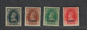 India Nabha Sc#87-90 M/LH/VF, Cv. $179