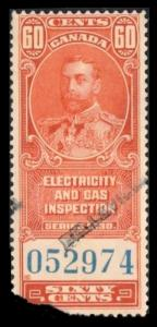 CANADA REVENUE TAX 1930, 60c #FEG2 SCARCE ELECTRIC & GAS INSPECTION SEE SCAN