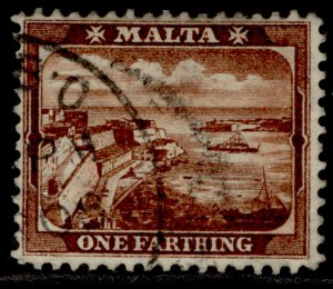 MALTA EDVII SG45w, ¼d red brown, FINE USED.