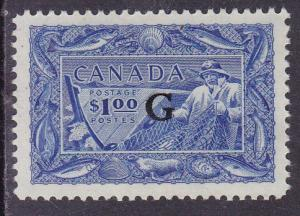Canada 1951 $1.00 brt ultra Fishing OFFICIAL XF/NH/(**) Scott O27. 'G' Overprint