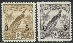 NEW GUINEA 1931 DATED BIRD OS 6D AND 9D