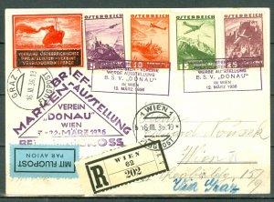 AUSTRIA 1936... REGISTERED AIR CARD...NICE SHIP VIGNETTE
