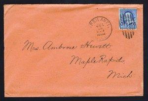 US ⭐ ORANGE COVER ⭐ SCOTT #219 YPSILANTI MI BARRED ELLIPSE DUPLEX CANCEL 1892