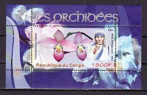 Congo, 2009 Cinderella issue. Mother Teresa & Orchid s/sheet. ^