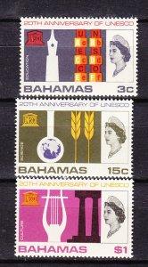 J26638 1966  bahamas set mh #249-51 unesco