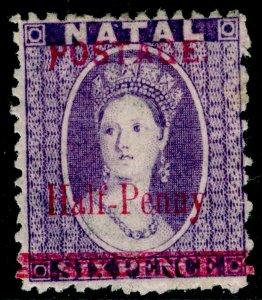 SOUTH AFRICA - Natal SG114, ½d on 6d violet, M MINT.