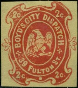 #20LU19 BOYD'S CITY DISPATCH; NY, NY 2¢ RED ON YELLOW WOVE BP8443