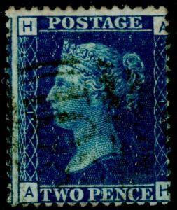 SG47, 2d dp blue plate 14, FINE USED. Cat £38. AH