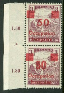 Hungary 1919 French Occupation 50f/3f Sc #1N21 Pair Variety Mint M916 ⭐⭐