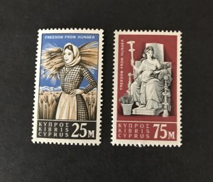 Cyprus 1963 #222-23 MNH SCV $3.75