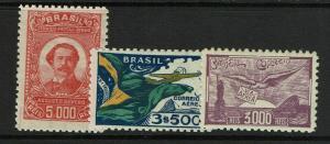 Brazil SC# C38 - C40 Mint Light Hinged / C39 Sm Hinge Rem - S7171
