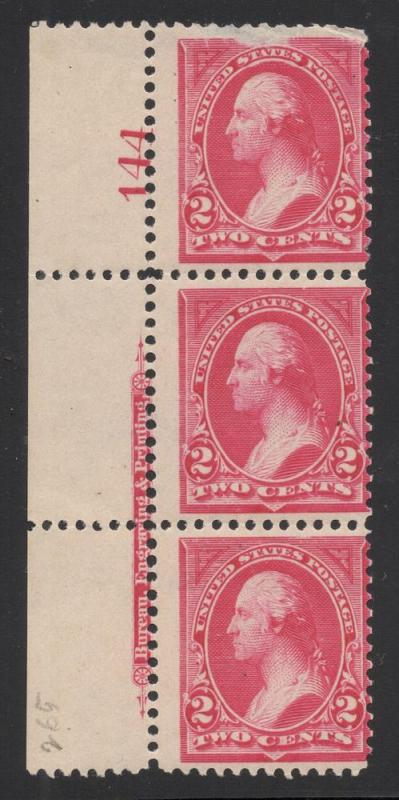 US#265 Carmine - Plt.# Strip of 3 - Unused - O.G.