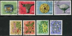 SWITZERLAND Sc#B422-B429 1974 Archeology & Tree Fruits Complete Sets Used