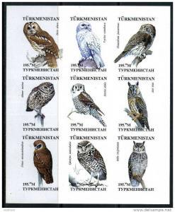 TURKMENISTAN SHEET IMPERF OWLS BIRDS OF PREY