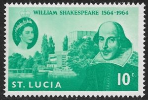 ST LUCIA 1964 WILLIAM SHAKESPEARE Issue Sc 196 MNH