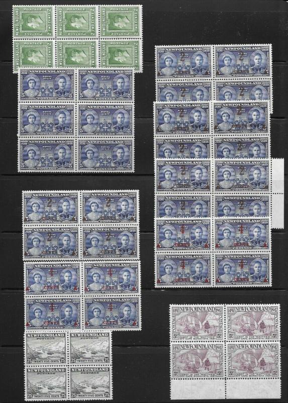 Newfoundland Mint Blocks Scott Number 245,249,250,251,265,270 Cat $59