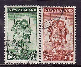 New Zealand-Sc#B20-1-used semi-postal set-Children in swing-1942-