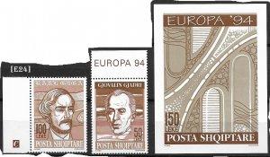 [E24]  Albania 1994, Europa, MiNr. 2540-41 bl.101,GimNr 2694-95, Bl.108, MNH**