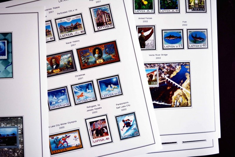 COLOR PRINTED LATVIA 2000-2010 STAMP ALBUM PAGES (38 illustrated pages)