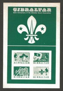 1968 Gibraltar Boy Scouts 60th anniv BadenPowell stamp announcement