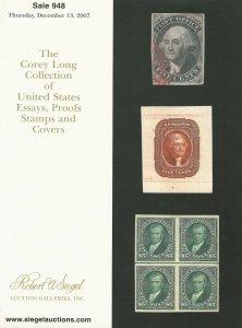 Corey Long, U.S. Essays, Proofs & Stamps, R. A. Siegel, Sale #948, Dec. 13, 2017