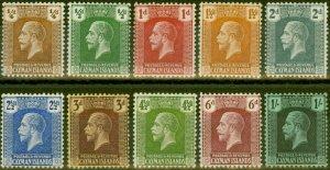 Cayman Islands 1921-25 set of 10 to 1s SG69-79 Fine Lightly Mtd Mint