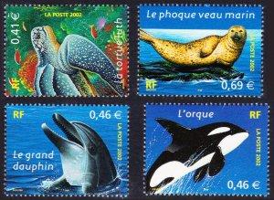 France #2892-95 cpl set MNH sealife dolphin orca